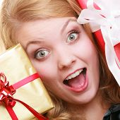 Holidays Love Happiness Concept - Girl With Gift Boxes