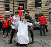 EDINBURGH- AUGUST 16: Members of 4Theatre Productions publicize their show Dracula during Edinburgh
