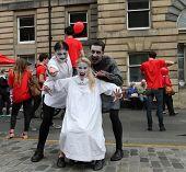EDINBURGH- AUGUST 16: Members of 4Theatre Productions publicize their show Dracula during Edinburgh Fringe Festival on August 16, 2014 in Edinburgh Scotland