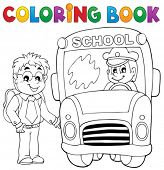 Coloring book school bus theme 4 - eps10 vector illustration.