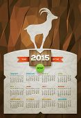 Year of the Goat 2015 calendar. Vector design template. Elements are layered separately.