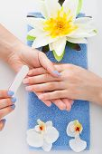 Woman Undergoing Manicure Process