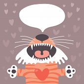 foto of tiger cub  - Card to the birthday or other holiday with cute tiger and place for your text - JPG