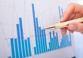 Businesswoman Analyzing Bar Graphs