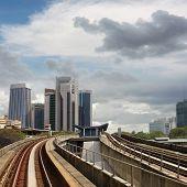 City scenery with buildings and rail in Kuala Lumpur, Malaysia, Asia.
