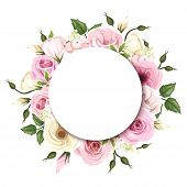 stock photo of english rose  - Vector background with pink and white roses and lisianthus flowers and green leaves - JPG