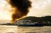Mekong Delta Ferry Boat On Sea, Black Smoke