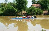 People On Boat, Reflect On Mekong Delta Canal
