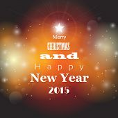 Christmas And New Year Greeting Card With Abstract Bokeh Background