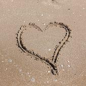 Heart On Beach. Romantic Composition.