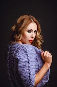 Portrait Of A Girl In A Knitted Cardigan