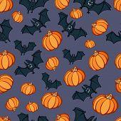 Halloween Pumpkin Bat Party Pattern