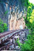The Death Railroad Among The Natural View In Kanchanaburi ,thailand