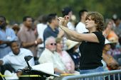 NEW YORK - JUNE 25:  A sign language interpreter gestures during the Greater New York Billy Graham C