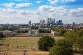LONDON, UK - JULY 17, 2014: Canary Wharf from the Greenwich hill