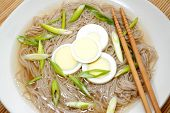Oriental Noodle Soup With Boiled Egg And Onion