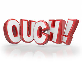 stock photo of hurt  - Ouch word in red 3d letters communicating injury - JPG