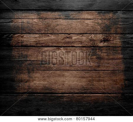 grunge wood texture background with black frame