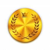 Empty textured golden metal button with crown and wreath