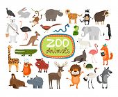 stock photo of zoo  - Vector Zoo Animals - JPG