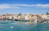 Boats moored in port. Trani. Apulia.