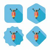 Transportation Scooter Flat Icon With Long Shadow,eps10