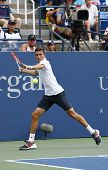Professional tennis player Gilles Simon from France during US Open 2014 round 4 match