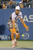Professional tennis player Tomas Berdych from Czech Republic during US Open 2014 match