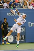 Professional tennis player Roberto Bautista Agut during round 4 match at US Open 2014