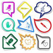 Medical set. Paper stickers. Vector illustration.