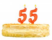 Birthday Cake With Candles Number Fifty Five