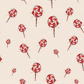 Lollipop Hand Drawn Sketch On Pink Background. Seamless Pattern Vector