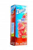 Hayward, CA - January 11, 2015: Packet of 40, Gallon size Ziploc brand storage bags by Johnson