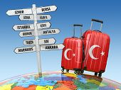 Travel concept. Suitcases and signpost what to visit in Turkey. 3d