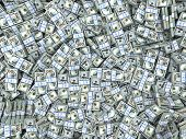 Packs of dollars Background. Lots of cash money. 3d