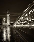 picture of london night  - Monochrome Big Ben and London at night with the lights of the cars passing by after rain London and England - JPG