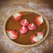 Spa Concept With Rose Petals, Salt And Burning Candles That Float In A  Water, Imitation Filter Inst