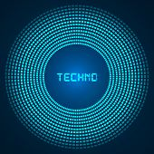 blue abstract background - circles of glowing pixels, concentric circles