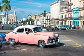 HAVANA, CUBA - JANUARY 8, 2015 : Vintage car on a sunny day in Old Havana