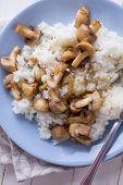 Fresh Mushrooms And Rice