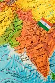 image of flag pole  - Map with miniature Flag of India - JPG