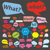 speech bubbles, icons, signs, symbols, illustrations set on background, vector