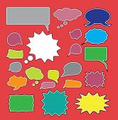 chat, speech icons, signs, symbols, illustrations set on background, vector
