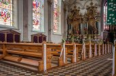 Interior of Roman Catholic parish St. Maurice church in Appenzell