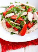 stock photo of rocket salad  - strawberry rocket and chicken salad on plate - JPG