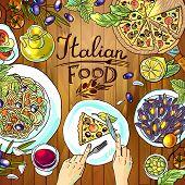 italian food on the wood textu