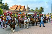 Lampang, Thailand - December 27, 2014: Horse Carriage At Wat Phra That Lampang Luang In Lampang, Tha