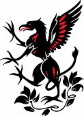 Standing Black Griffin with flower