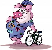pink pig ready to cycle
