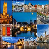 foto of storyboard  - Mosaic collage storyboard of Belgium tourist views travel images - JPG